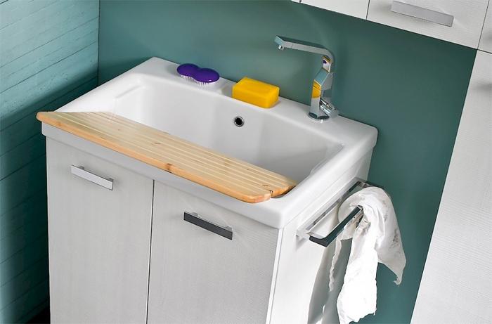 Mobile lavanderia con lavatoio a incasso in ceramica - Mobile con lavatoio ...