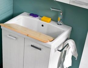 Mobile lavanderia con lavatoio a incasso in ceramica