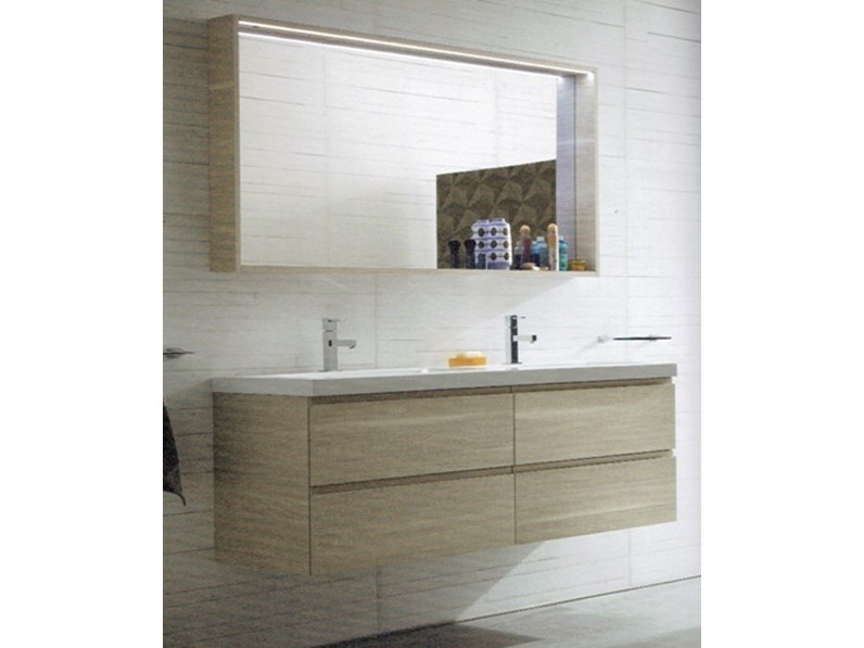 Mobile a bagno con due lavabi compab outlet 30 for Lavabi arredo