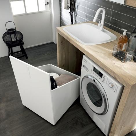 Mobile a giorno per lavanderia con mensole e pensile con - Specchio con ante per bagno ...