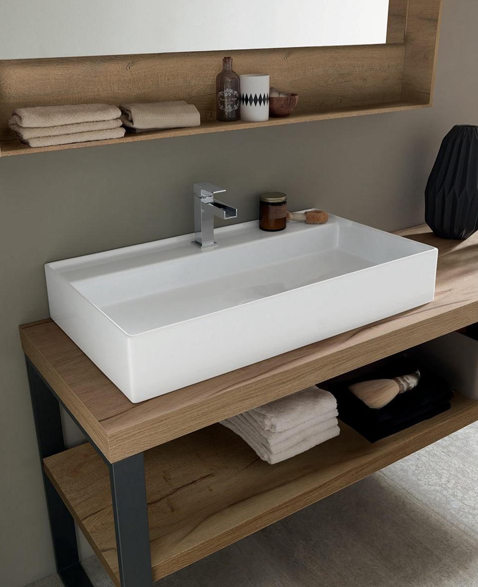 mobile a terra per bagno con lavandino ad appoggio nuovo