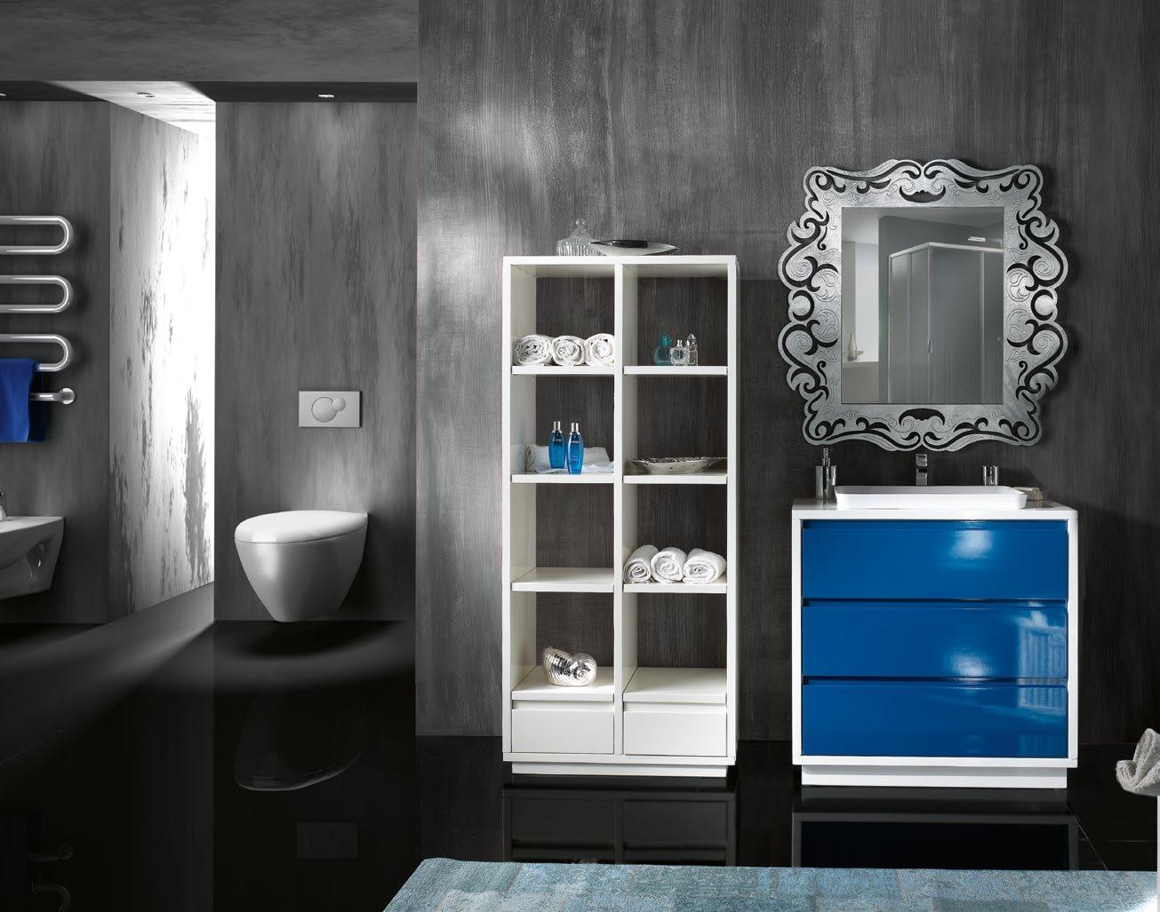 mobile arredo bagno con i cassettoni lavello ad incasso completo di specchiera e colonna