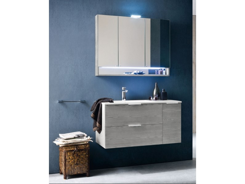 Mobile bagno sospeso compab con specchiera contenitore in for Offerta mobili