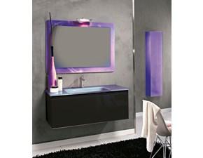 Mobile arredo bagno Sospeso Euro bagno Mobile cm 105 cristallo nero con specchio e pensile in metallizzato viola scontati
