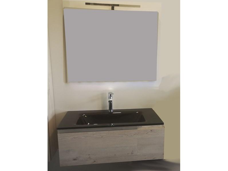Mobile arredo bagno Sospeso Euro bagno Mobile con lavabo integrato marrone  e base rovere chiaro convenienti