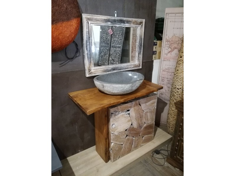 Mobile bagno A terra Bagno root in legno minimal Outlet etnico a ...