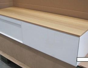 Mobile bagno Arlex Class bianco lucido + top rovere naturale  con un ribasso del 50%