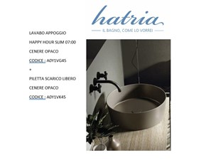 Mobile bagno Artigianale Hatria lavabo appoggio happy hour 07:00 cenere opaco a0y1vg45 IN OFFERTA OUTLET