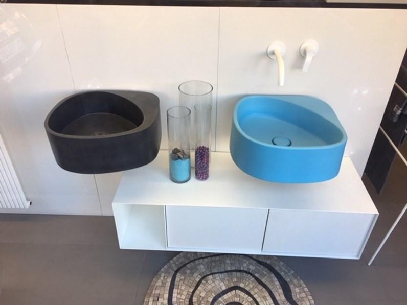 Mobile bagno Artigianale Moab80 elletre lavabo in cemento nero + ...