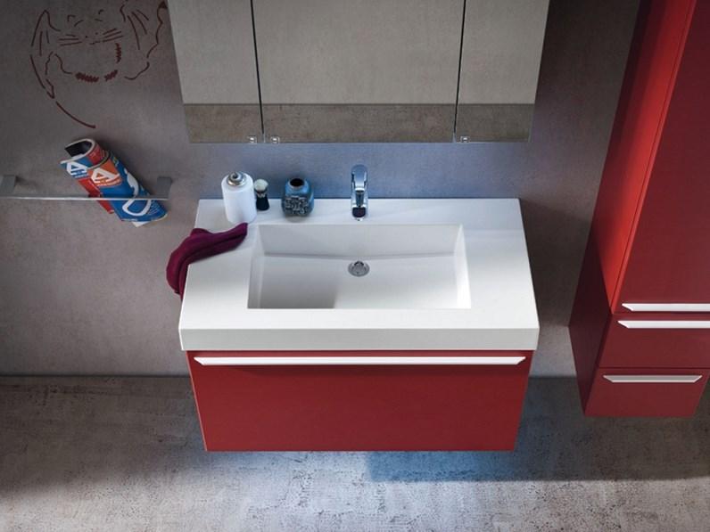 Mobile bagno Compab moderno sospeso con specchiera contenitore a ...