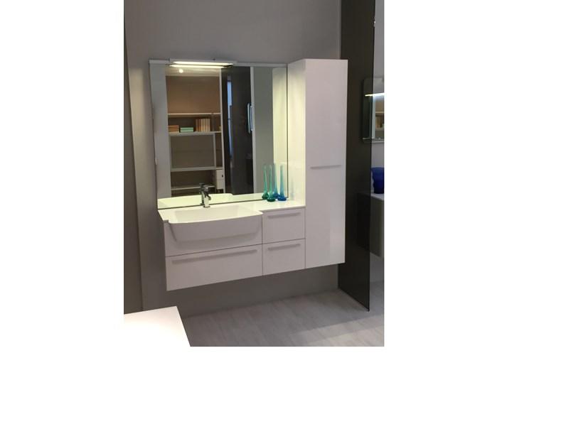 Mobile bagno completo cm sospeso laccato bianco base specchio luce
