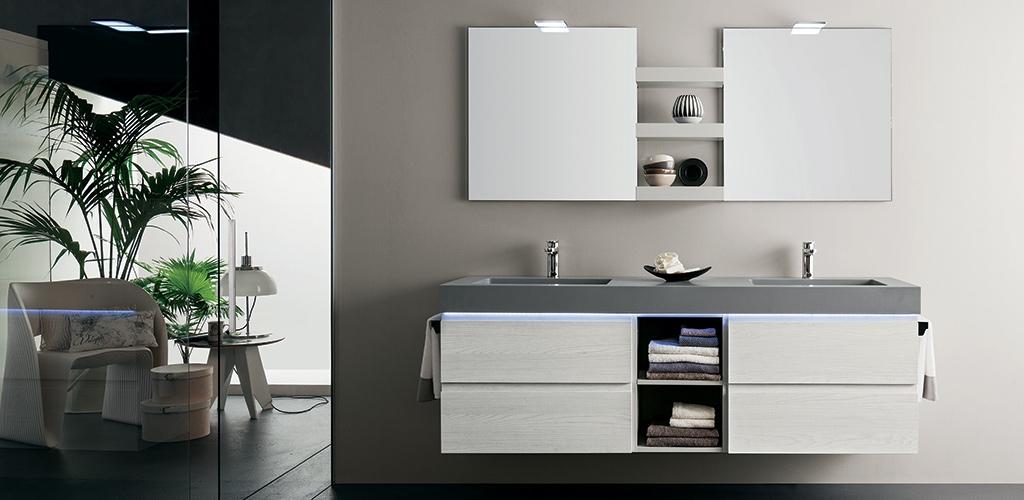 Mobile bagno con doppio lavabo by rab arredobagno nuovo for Prezzi lavabo bagno con mobile