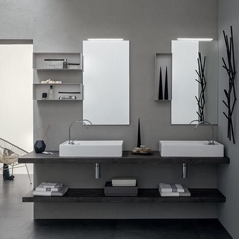 Mobile bagno con doppio lavabo da appoggio by rab for Arredo bagno con lavabo da appoggio
