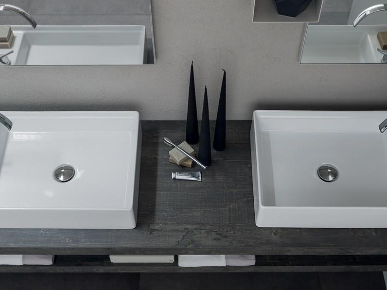 Mobile bagno con doppio lavabo da appoggio by rab for Specchio bagno doppio lavabo