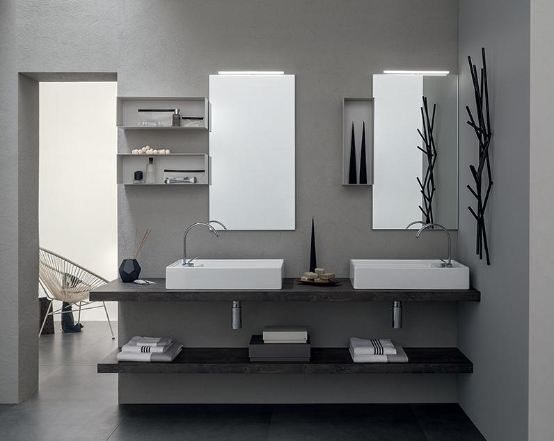 Mobile bagno con doppio lavabo da appoggio, by RAB arredobagno ...