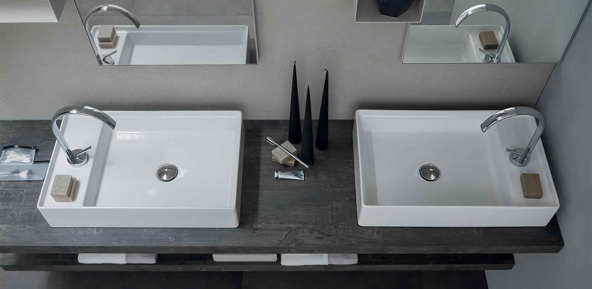 Mobile bagno con doppio lavabo da appoggio by rab - Bagno doppio lavandino ...
