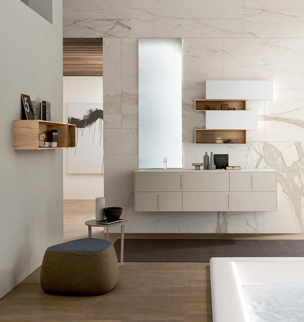 Mobile bagno con mensole contenitori a muro nuovo a for Nuovo arredo camerette prezzi