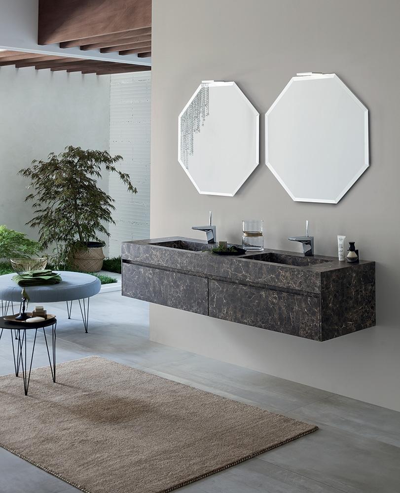 Mobile bagno con specchi ottagonali by rab arredobagno - Rab arredo bagno ...