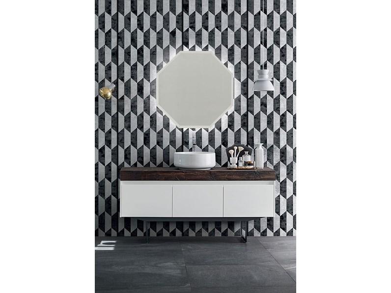 Mobile bagno con specchio ottagonale, by RAB arredobagno, nuovo scontato