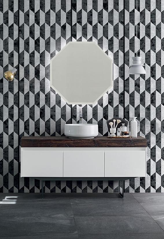 mobile bagno con specchio ottagonale, by rab arredobagno, nuovo ... - Athena Arredo Bagno