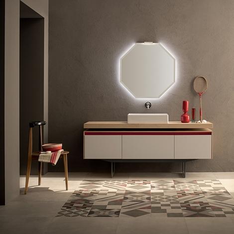 Mobile bagno con specchio ottagonale retroilluminato by rab arredobagno nuovo a prezzo - Specchio bagno prezzi ...