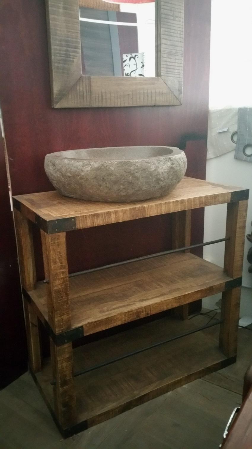 Mobile bagno consolle con ripiano tutto legno massello - Legno per bagno ...