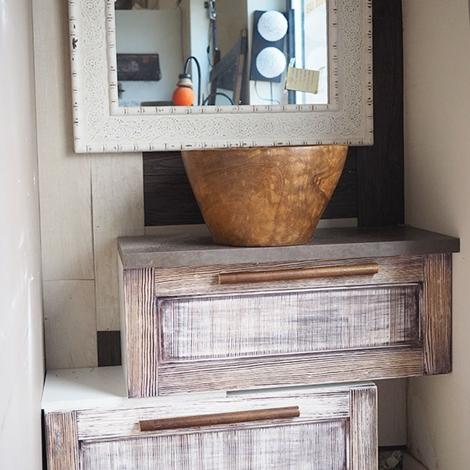 Mobile bagno doppia ribalta in legno shabby etnico vintage - Arredo bagno etnico ...