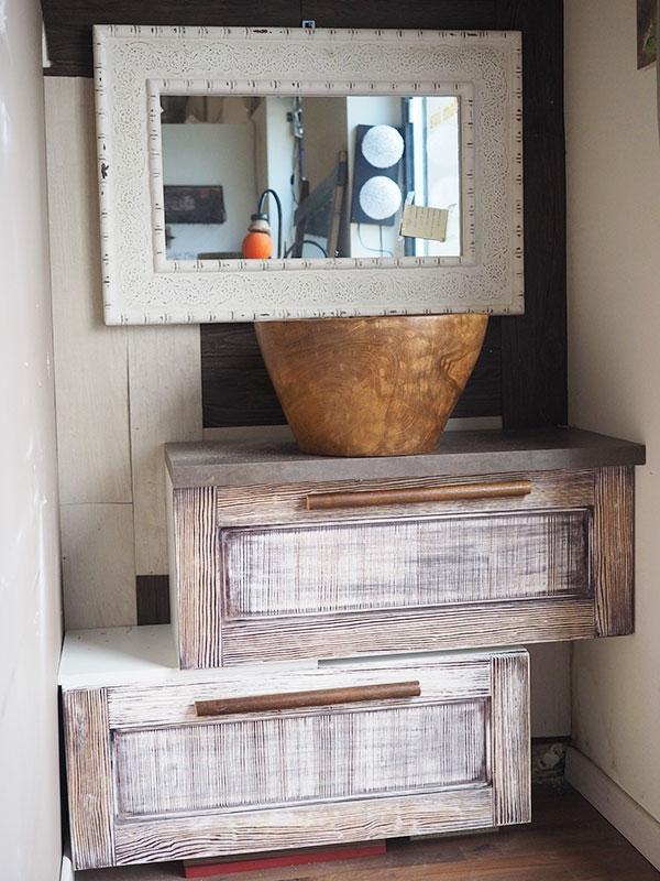 Mobile bagno doppia ribalta in legno shabby etnico vintage - Mobile bagno etnico ...