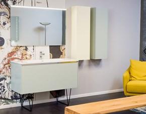 Mobile bagno Ego Step verde the opaco e vaniglia completo di specchiera e pensili in offerta -30%