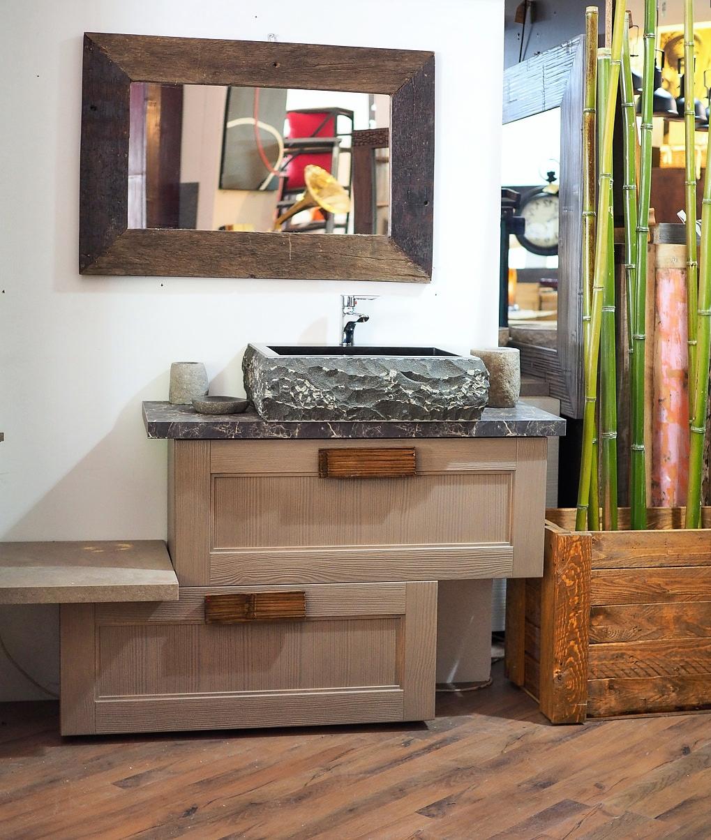 Mobile bagno essential etno in offerta compreso di specchio e lavabo arredo bagno a prezzi - Specchio d arredo ...