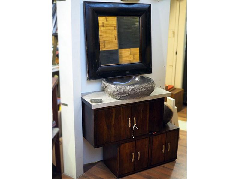 Mobile bagno etnico in offerta convenienza outlet in legno con specchio - Specchio bagno legno ...