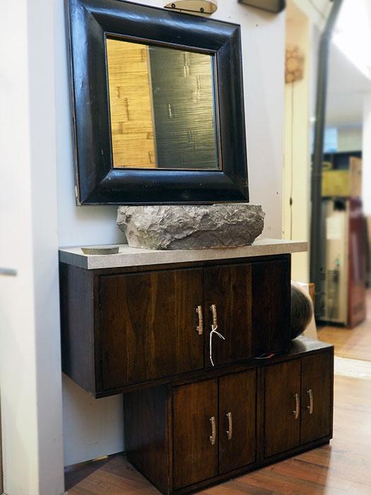 Mobile bagno etnico in offerta convenienza outlet in legno for Mobile specchio bagno ikea
