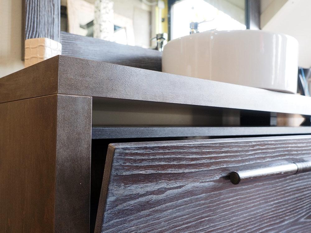 MOBILE BAGNO ETNO moderno a SOSPENSIONE in legno massello decape brown - Arredo bagno a prezzi ...