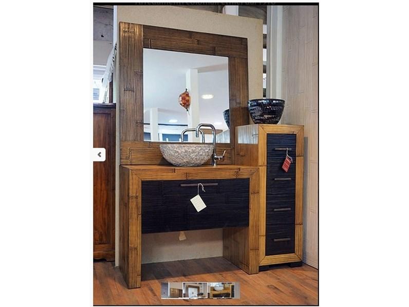 mobile bagno in legno e carsh bambu miele e black in offerta outlet ...