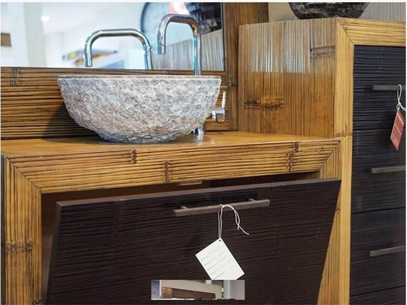 Mobile bagno in legno e carsh bambu miele e black in for Offerta mobili bagno