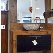 mobile bagno in legno e carsh bambu miele e black in offerta outlet nuovimondi