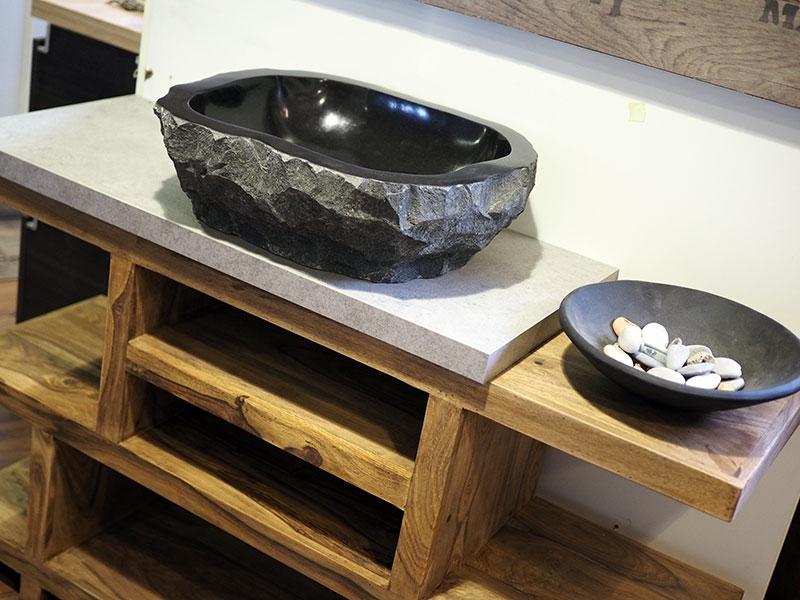 Mobile bagno in legno etnico iroko con lavabo in radice di sessham in offerta arredo bagno a - Arredo bagno etnico ...