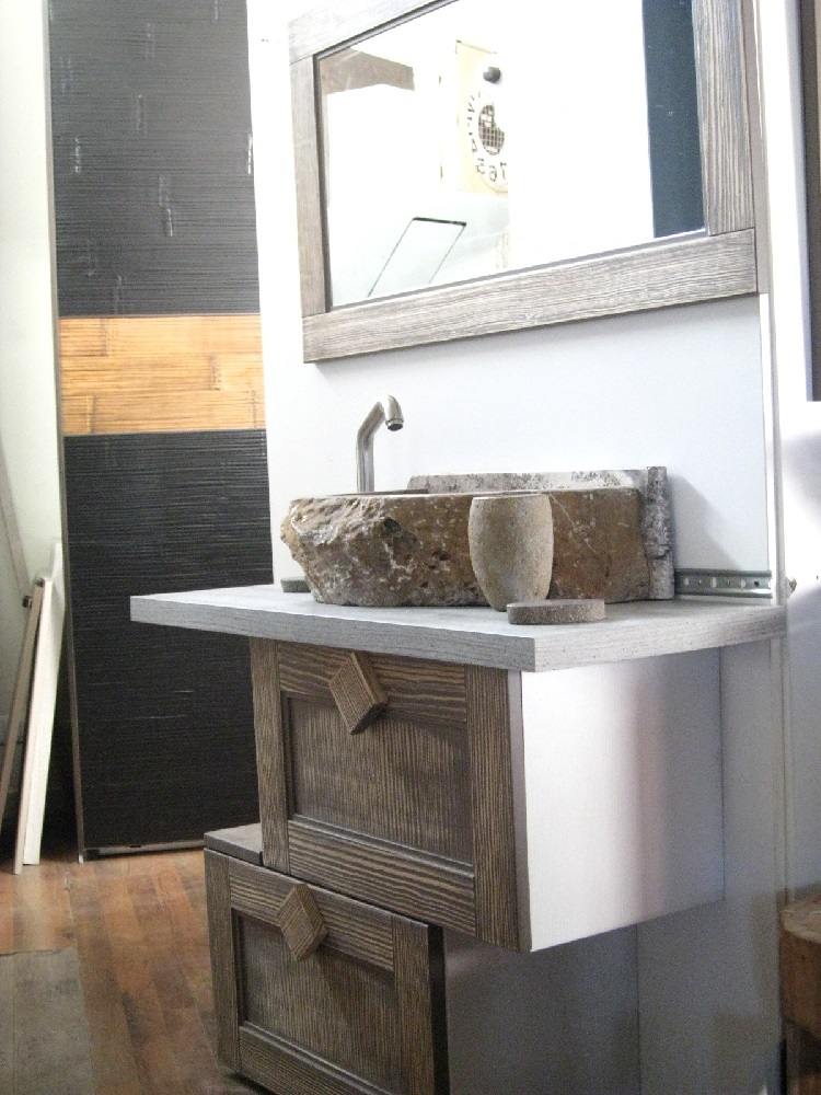 mobile bagno industrial ante a ribalta zen legno offerta - arredo ... - Arredo Bagno Vintage