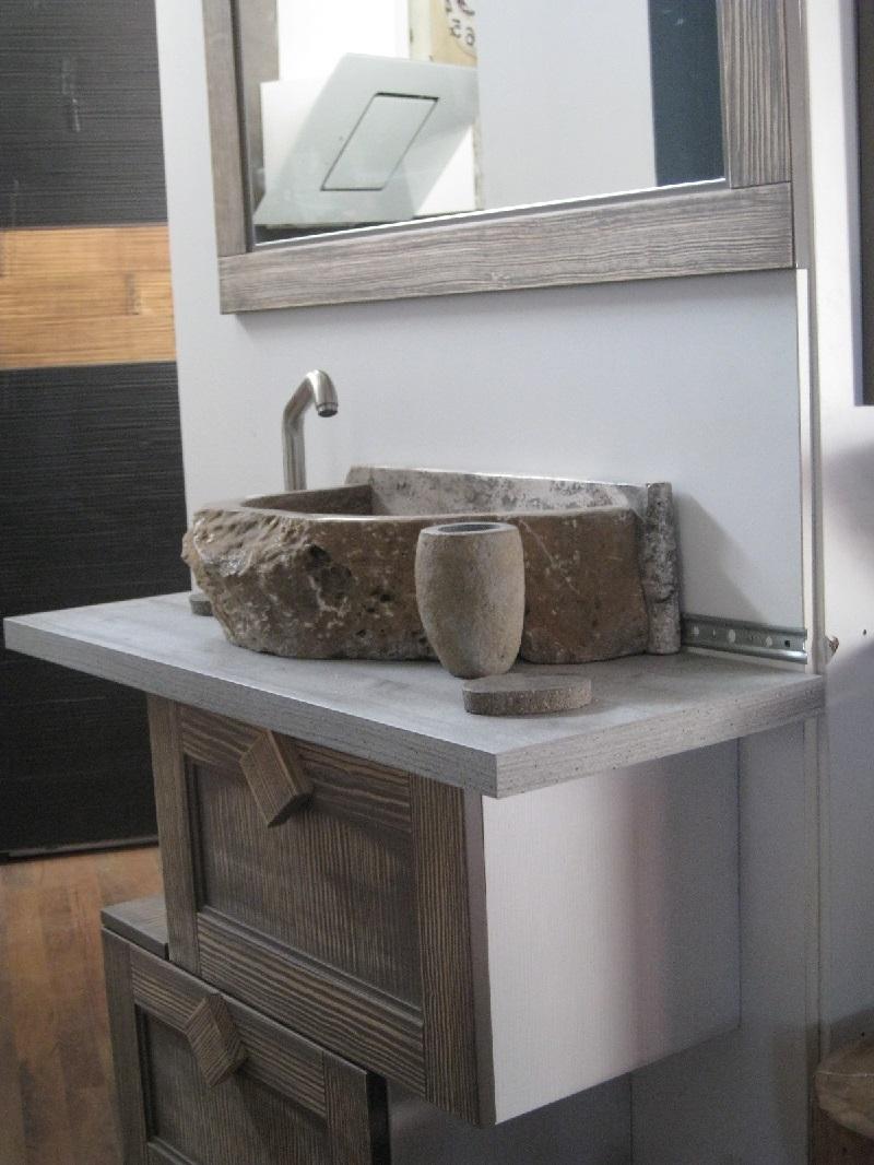mobile bagno industrial ante a ribalta zen legno offerta - Arredo bagno a pre...