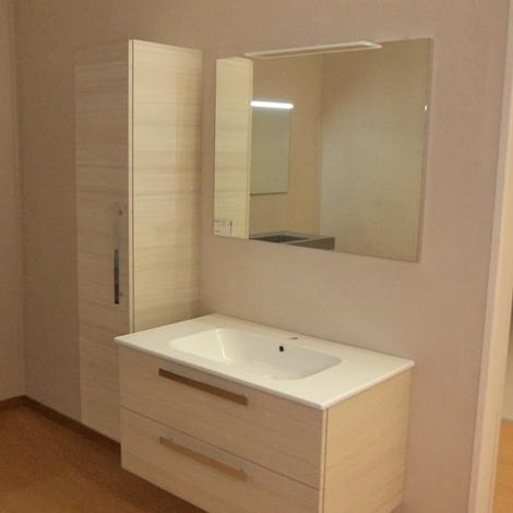 Mobile Bagno In Laminato Laccato Bianco Lucido A Tre Ante E Due ...