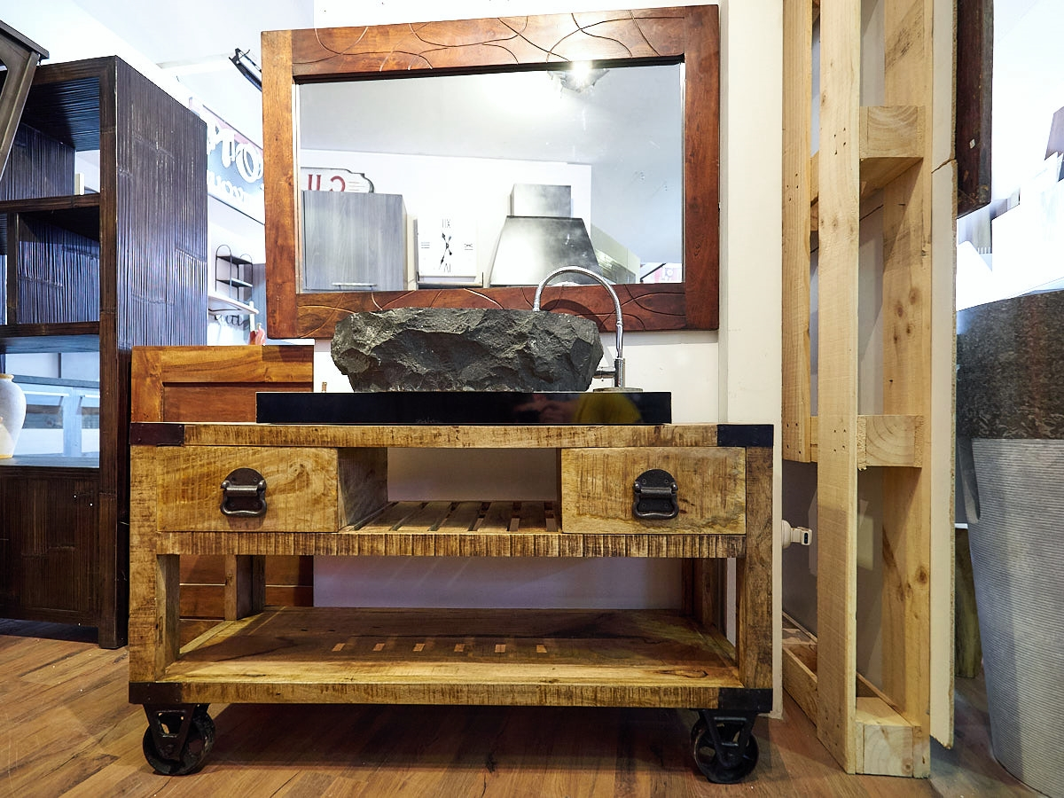 mobile bagno recicle industrial con ruote iron india design ferro ...
