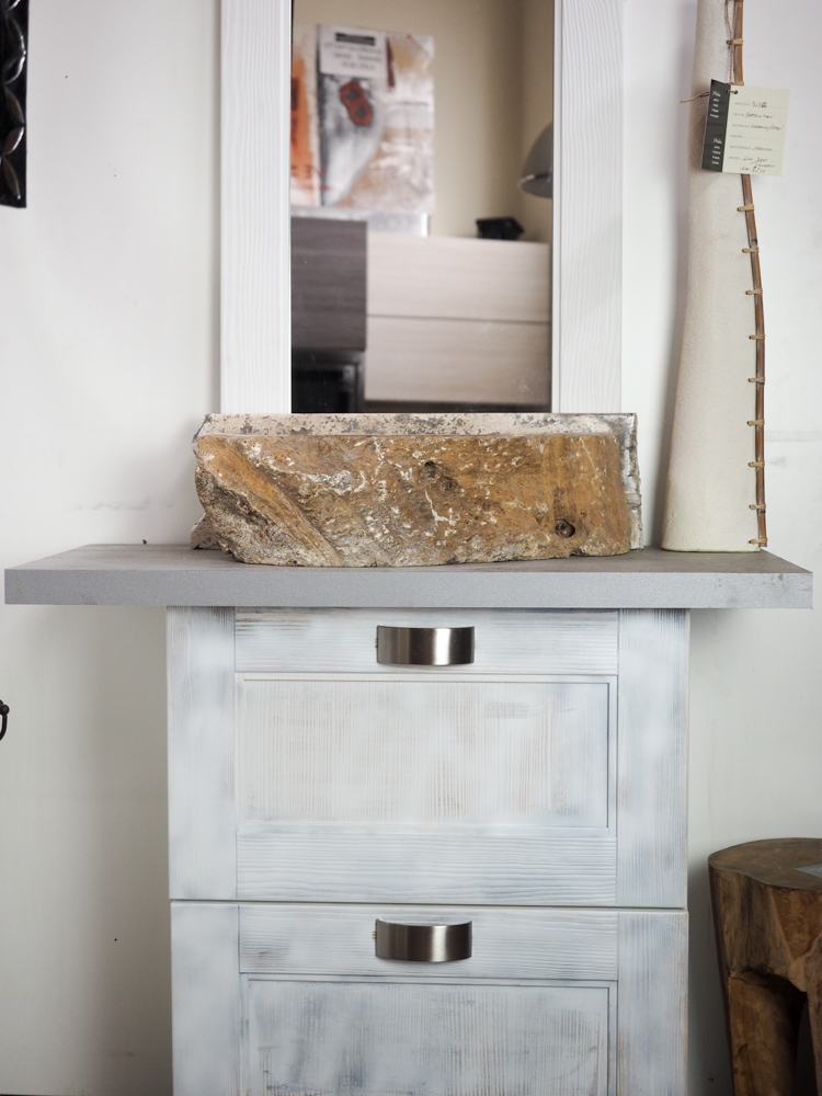 Mobile bagno shabby chic vintage bianco ante a ribalta for Lavabo shabby chic