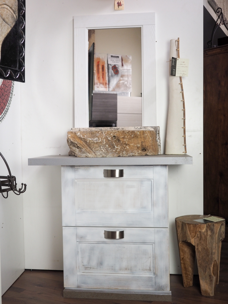 Mobile bagno shabby chic vintage bianco ante a ribalta - Arredo bagno shabby chic ...