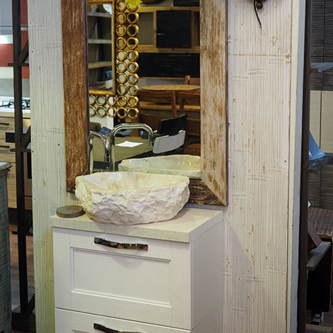 MOBILE BAGNO SHABBY CHIC VINTAGE BIANCO ANTE A RIBALTA