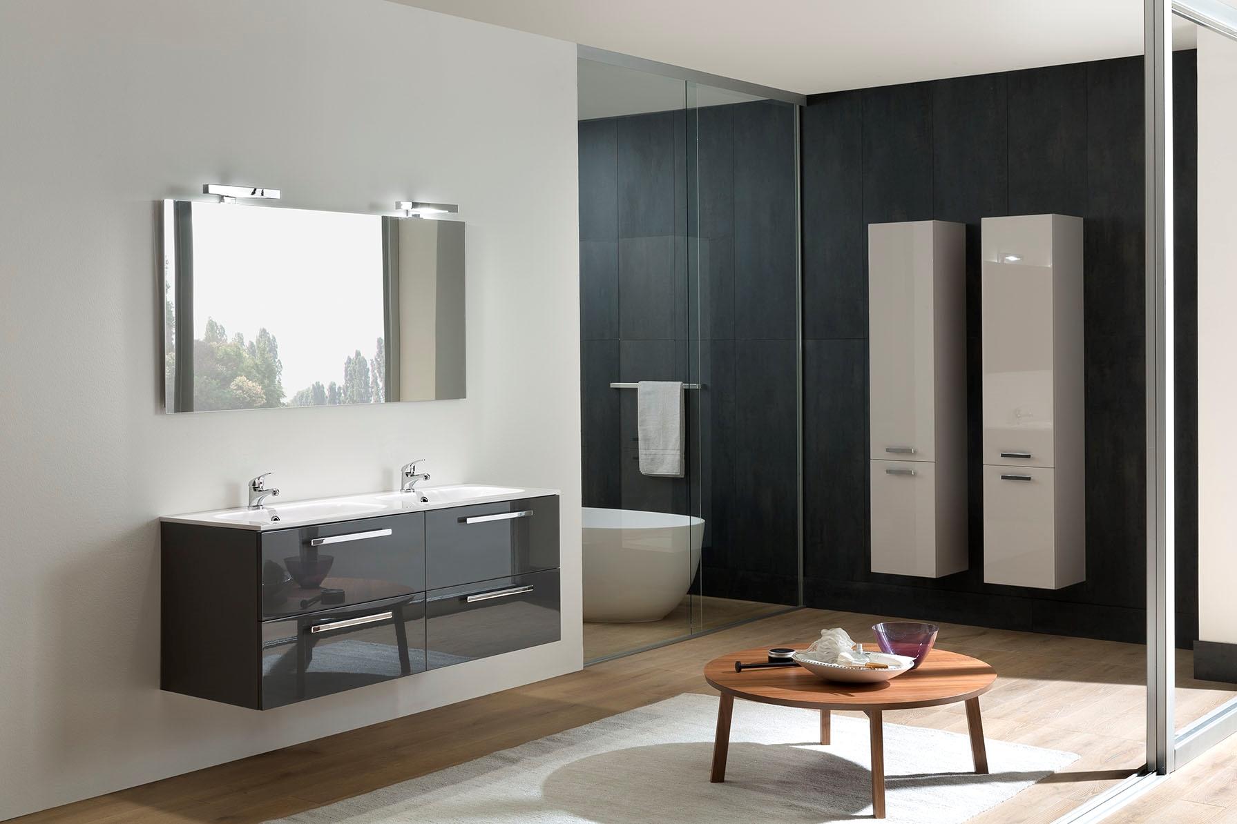 Mobile bagno sospeso con doppio lavello e doppia colonna - Mobile lavello bagno ...