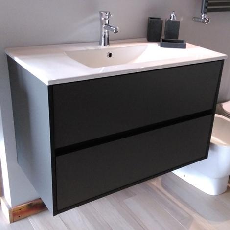 Mobile bagno sospeso con gola colore antracite opaco arredo bagno a prezzi scontati - Montaggio mobile bagno ...