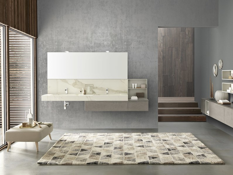 Mobile bagno sospeso con lavabo cm con pensili tortora opaco