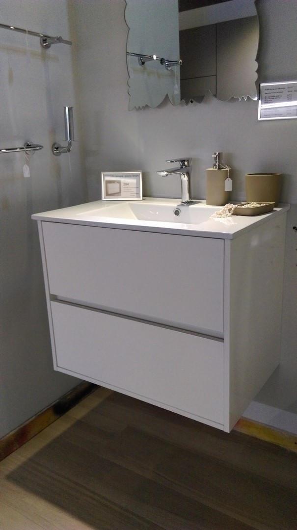 Mobile bagno sospeso con gola colore bianco lucido arredo bagno a prezzi scontati - Mobile bagno bianco lucido ...