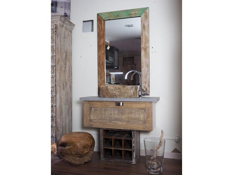 Mobile bagno stile industrial anta legno class vintage - Arredo bagno vintage ...