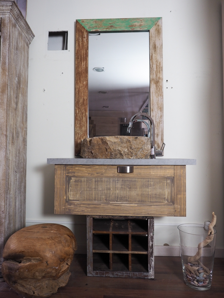 Mobile bagno stile industrial anta legno class vintage - Bagno industrial ...